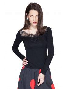 Black Lace Splicing Long Sleeve T-Shirt - BLACK S