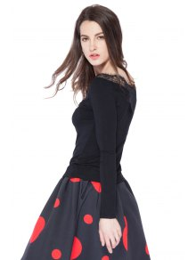 Black Lace Splicing Long Sleeve T-Shirt