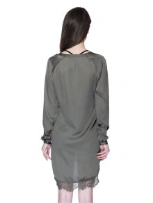 Solid Color Lace Splicing Dress - ARMY GREEN XS