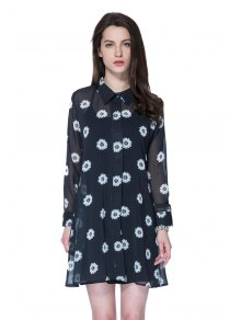 Flower Print Turn-Down Collar Dress