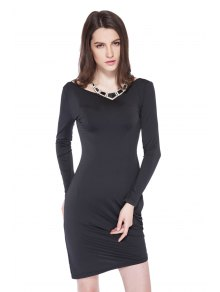 Long Sleeve Solid Color Bodycon Dress