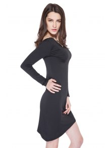 Long Sleeve Solid Color Bodycon Dress - BLACK S