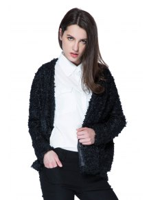 Lamb Wool Solid Color Long Sleeve Coat