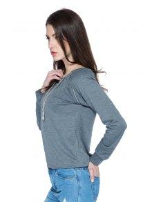 Solid Color Long Sleeve Zipper Sweatshirt