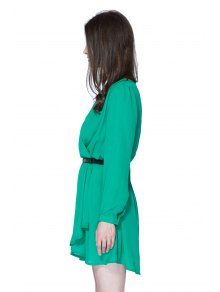 Long Sleeves Solid Color Dress - GREEN S