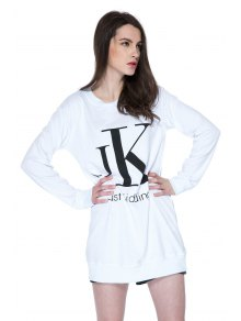Long Sleeves Letter Print Sweatshirt - WHITE XS