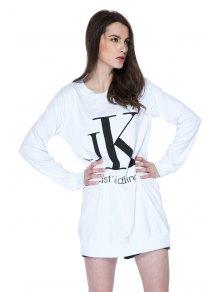 Long Sleeves Letter Print Sweatshirt - WHITE XS