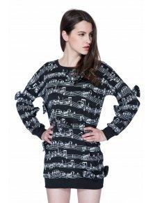 Musical Staff Print Bowknot Sweatshirt