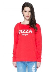 Red Letter Print Long Sleeve Sweatshirt