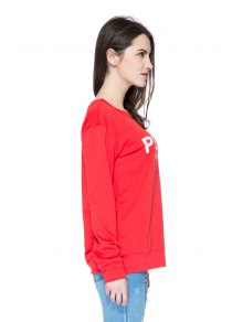 Red Letter Print Long Sleeve Sweatshirt - RED XS