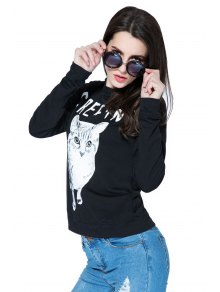 Kitten and Letter Print Sweatshirt