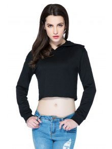 Hooded Solid Color Crop Top