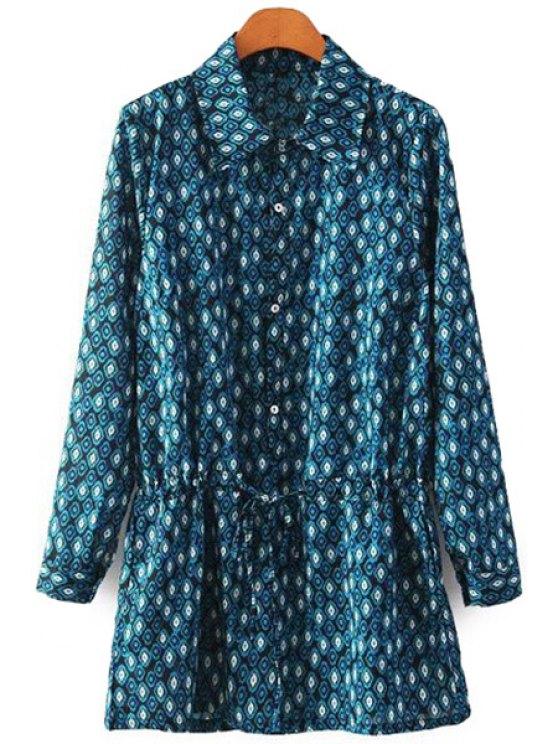 outfit Argyle Print Turn-Down Collar Dress - PURPLISH BLUE S