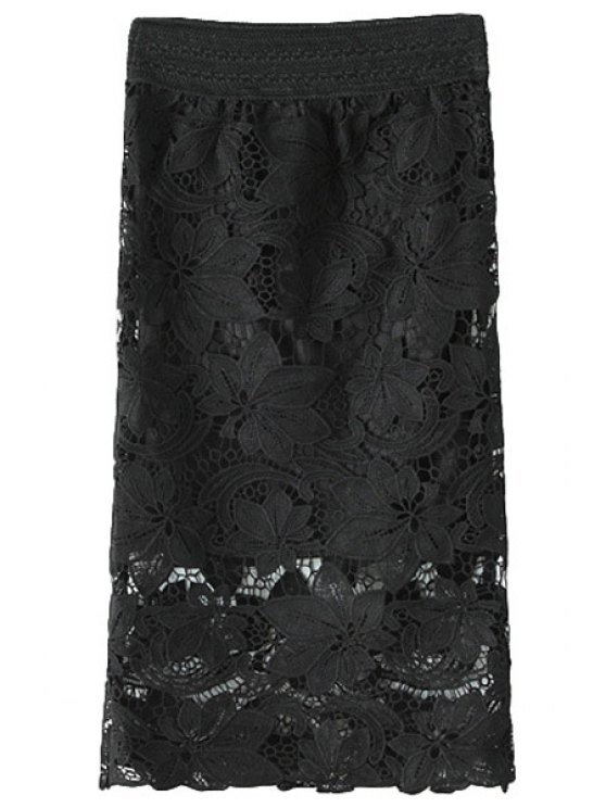 women's Crochet Flower Hollow Out Skirt - BLACK ONE SIZE(FIT SIZE XS TO M)