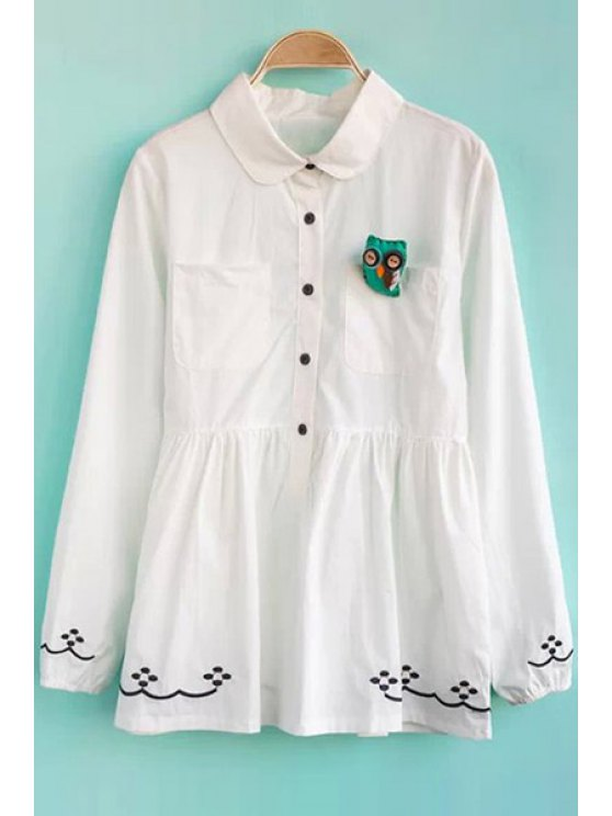outfit Peter Pan Collar Embroidery Shirt - WHITE S