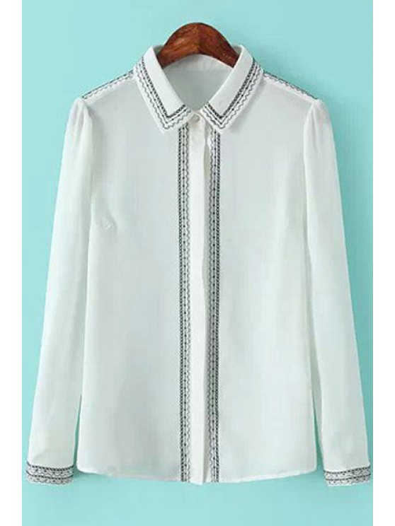 unique Embroidery Shirt Collar Chiffon Shirt - WHITE S