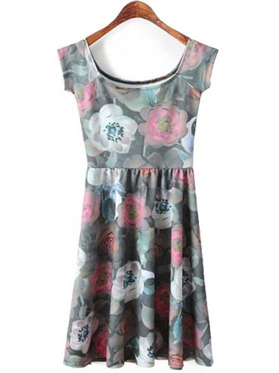fancy Floral Pattern Sleeveless Dress - GRAY S