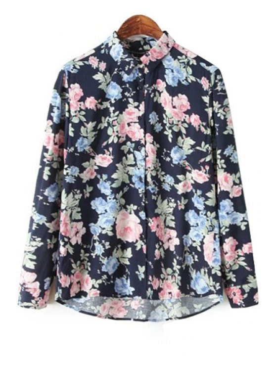 best Turn-Down Collar Floral Print Shirt - PURPLISH BLUE S