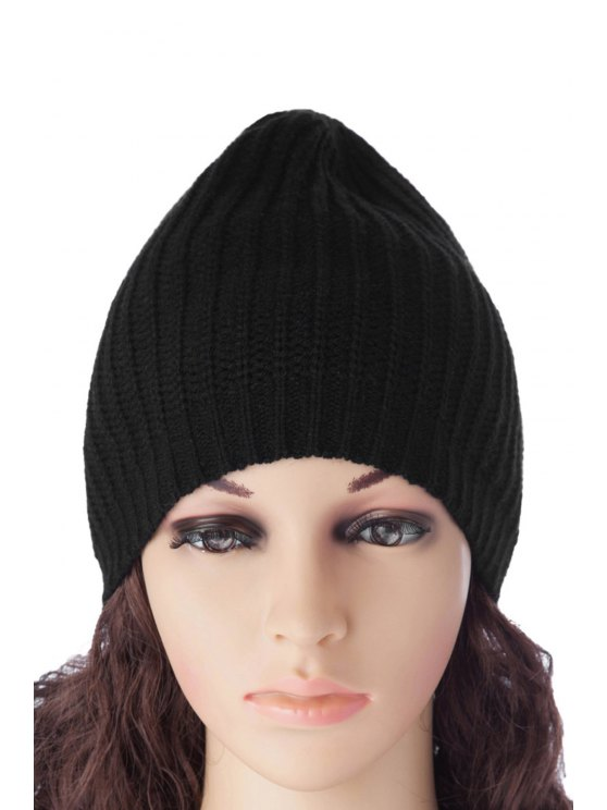 sale Pure Color Knitting Hat - BLACK S