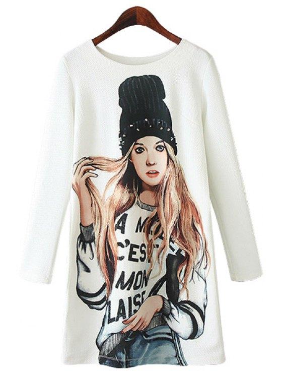 shops Girl Print Long Sleeves Dress - WHITE S