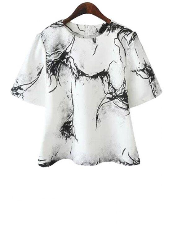 lady Print Short Sleeve T-Shirt - WHITE S