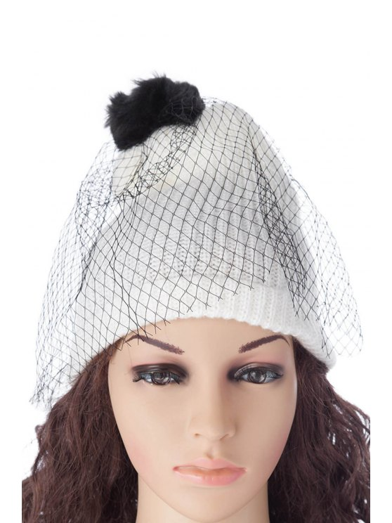 hot Pompon Design Veil Hat - AS THE PICTURE S