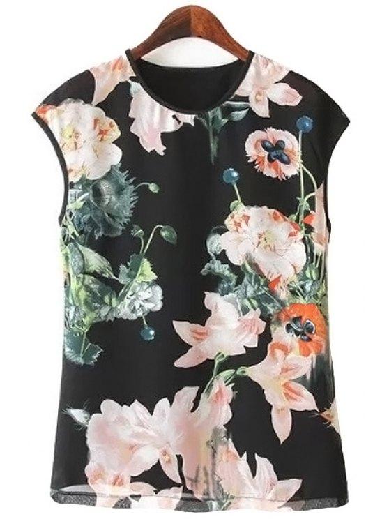 hot Floral Print Chiffon Tank Top - BLACK S