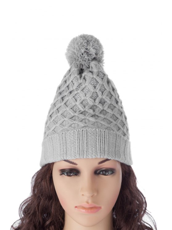 outfits Ball Design Reticular Pattern Hat - LIGHT GRAY S