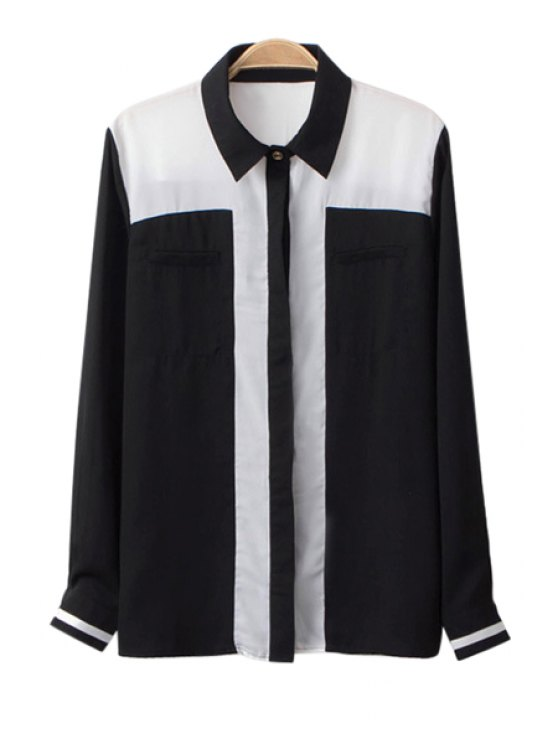 fancy Color Block Shirt Collar Chiffon Shirt - BLACK S