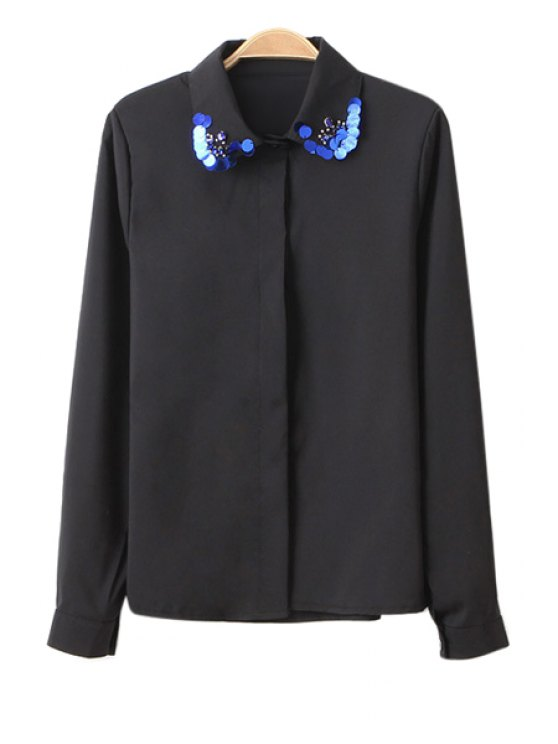 women Sequins Splicing Long Sleeve Shirt - BLACK ONE SIZE(FIT SIZE XS TO M)