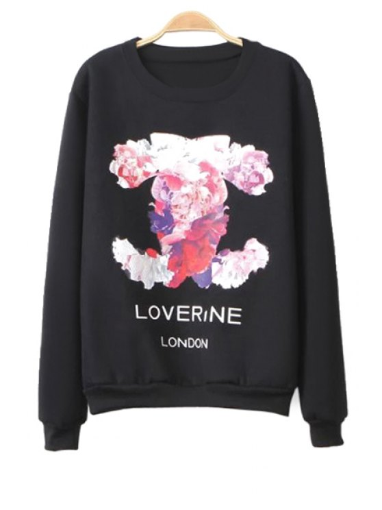 best Floral Pattern Sweatshirt - BLACK ONE SIZE(FIT SIZE XS TO M)