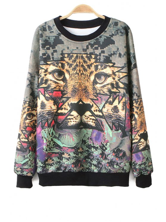 outfit Long Sleeve Tiger Print Sweatshirt - COLORMIX ONE SIZE(FIT SIZE XS TO M)