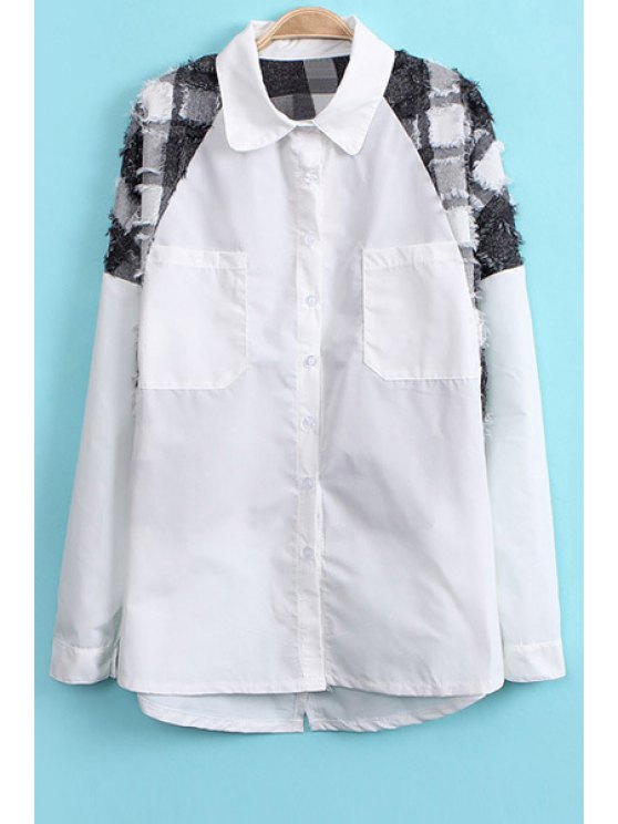 online Checked Splicing Long Sleeve Shirt - WHITE ONE SIZE(FIT SIZE XS TO M)