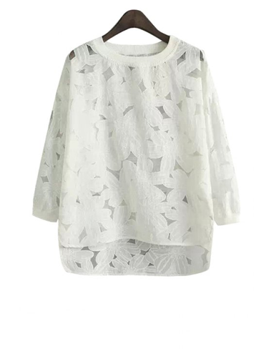 new Nine-Minute Sleeve Floral Blouse - WHITE S