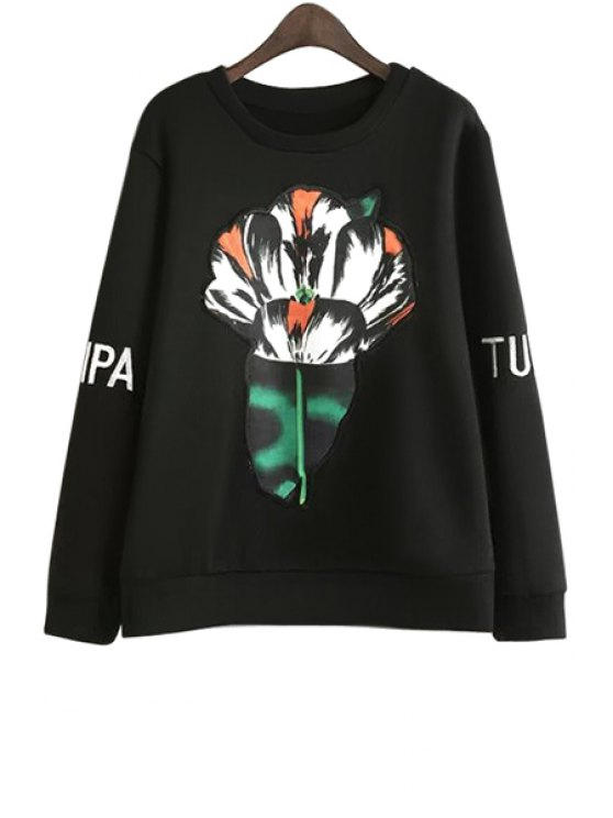 shop Floral Embroidery Jewel Neck Sweatshirt - BLACK S
