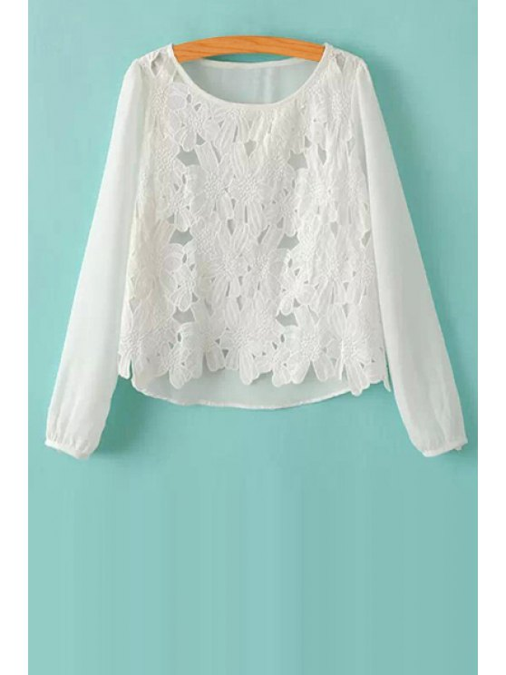 sale Crochet Flower Splicing Blouse - WHITE S