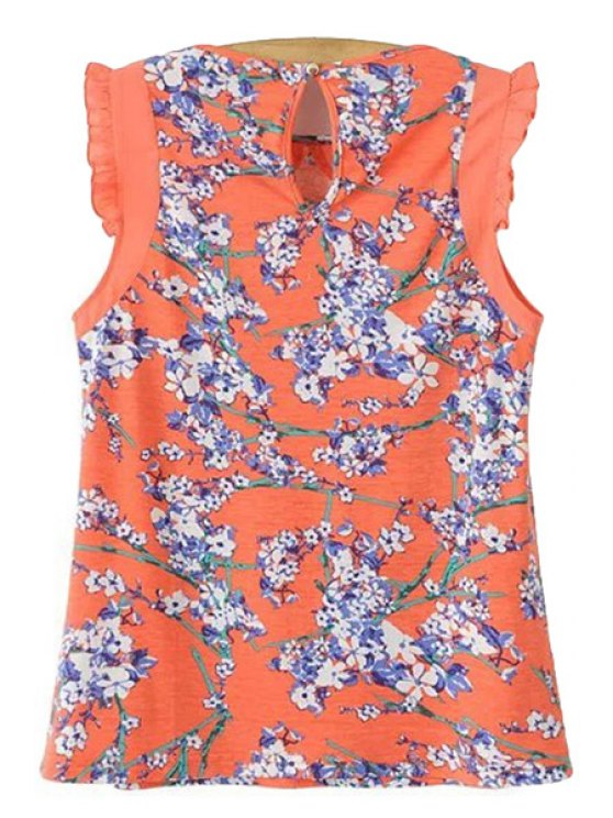 trendy Floral Print Splicing Tank Top - ORANGEPINK S