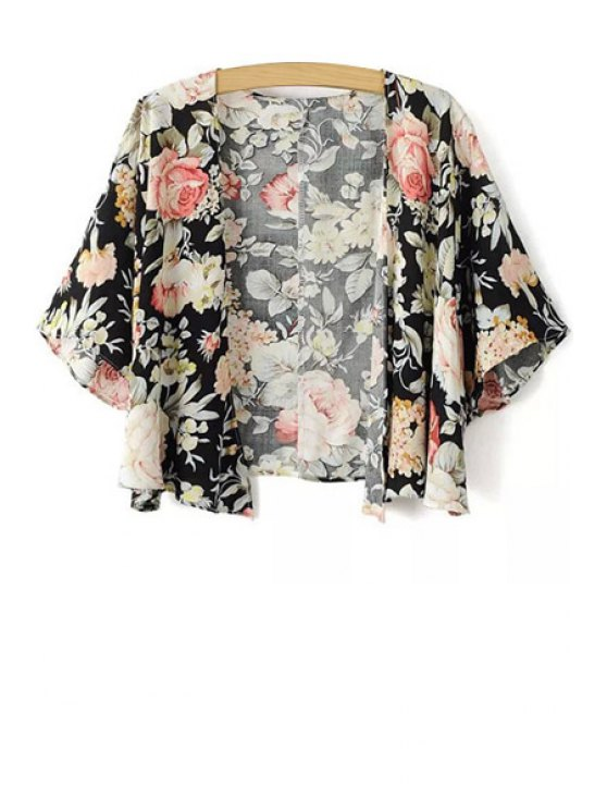 outfits Floral Pattern Half Sleeve Blouse - BLACK L