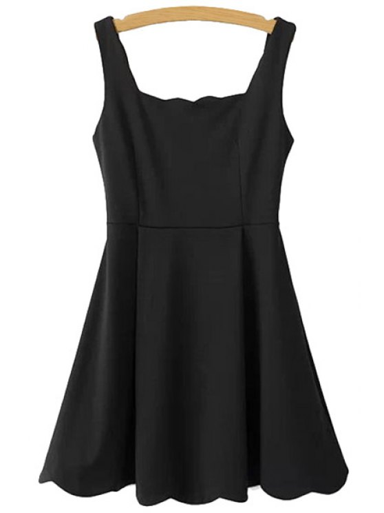 fashion Solid Color Sleeveless A-Line Dress - BLACK S