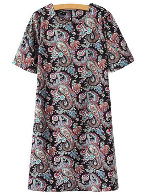 ladies Print Short Sleeve Dress - BLACK S