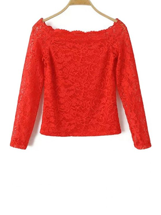 latest Boat Neck Solid Color Lace Blouse - RED S