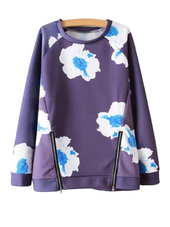 womens Floral Print Zipper Sweatshirt - BLUE S