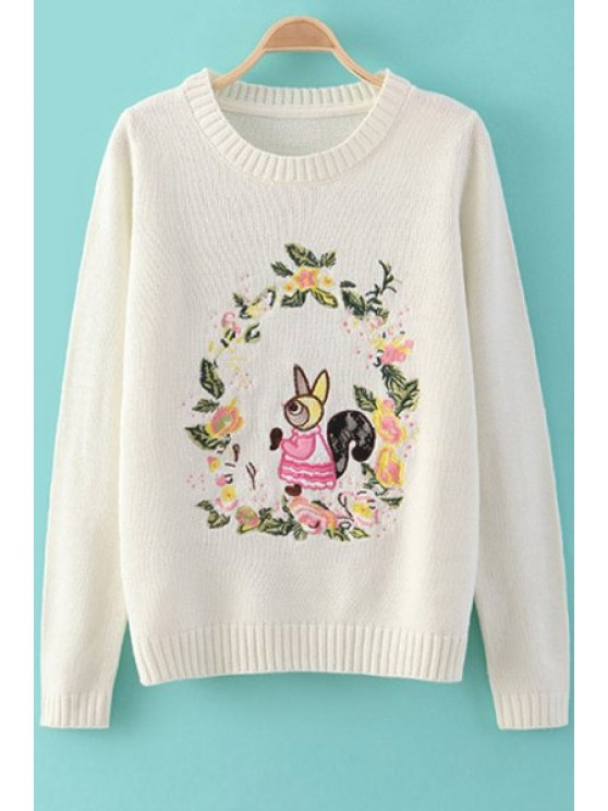 fashion Floral and Squirrel Embroidery Sweater - WHITE S