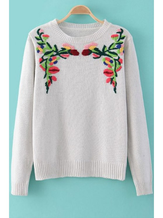 chic Floral Embroidery Long Sleeves Sweater - WHITE S