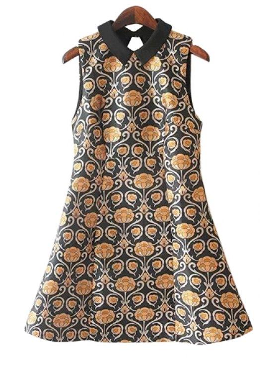 unique Print A-Line Sleeveless Dress - COLORMIX M