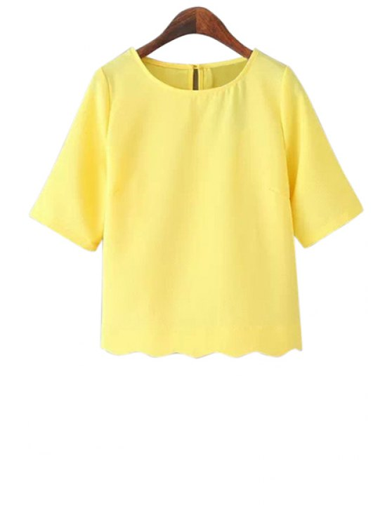 new Solid Color Short Sleeves T-Shirt - YELLOW S