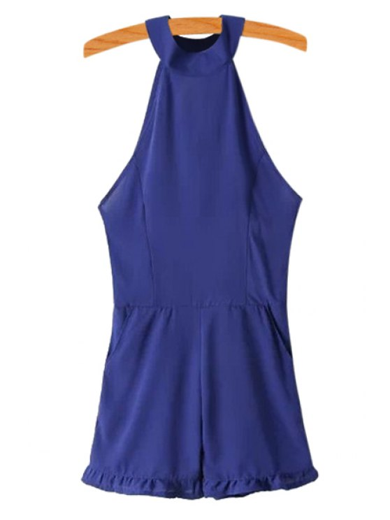 sale Solid Color Off-The-Shoulder Jumpsuit - BLUE M