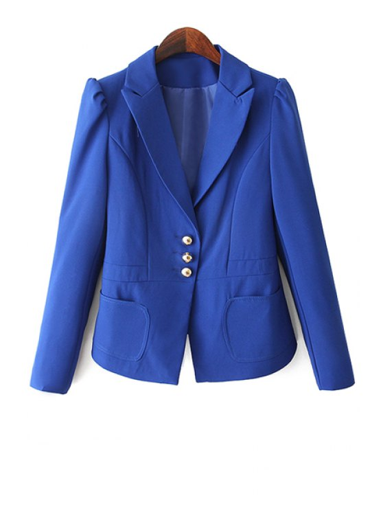 new Solid Color Three Buttons Blazer - BLUE S