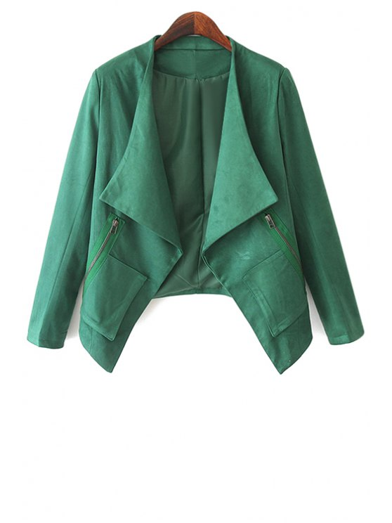 women Solid Color Long Sleeves Jacket - GREEN S
