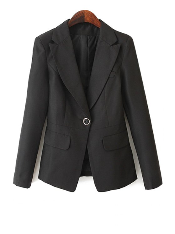 shop Lapel Solid Color One Button Blazer - BLACK S